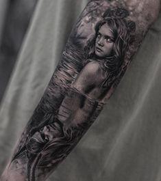 Pretty black and grey tattoo art of Scandinavian folklore motive Huldra done by tattoo artist Bro Studiu Black Sleeve Tattoo, Arm Sleeve Tattoos, Black And Grey Tattoos Sleeve, Dark Ink, Best Tattoo Designs, Beste Tattoo, Tattoos Gallery, Back Tattoo, Body Art Tattoos