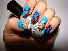 Unique Makeup Using Shark Idea, As Celebration of Shark Week - Nona Gaya Manicure E Pedicure, Mani Pedi, Shark Nail Art, Hair And Nails, My Nails, Crazy Nails, Swag Nails, Nailart, Unique Makeup