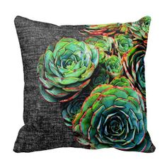 Green Succulent Decorative Modern Chic Pillow