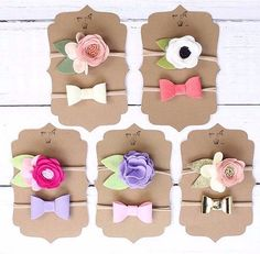 Items similar to Flower and bow gift sets on Etsy Felt Flowers, Diy Flowers, Fabric Flowers, Felt Diy, Felt Crafts, Diy And Crafts, Felt Headband, Baby Headbands, Scrapbooking Album