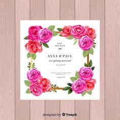Hermosas flores frontera plantillas invitaciones t Flower Wedding Invitation Templates, Wedding Invitations, Peony Flower, Flowers, Save The Date, Invites, Getting Married, Vector Free, Frame