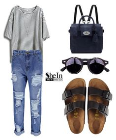SHEINSIDE T-Shirt by tania-alves on Polyvore featuring polyvore, fashion, style, Boohoo, Birkenstock, Mulberry and Vince Camuto