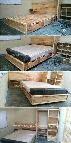 This is a pallet bed creation work that is so elegantly designed out. It is being functionally added with the bed framing with storage drawers work inside it, that make it overall come out to be a complete furniture bedroom idea for your house use. Let's try it!