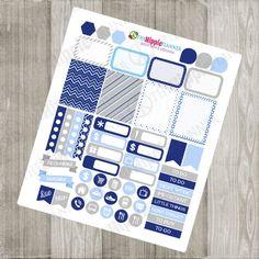 Blue & Silver Hanukkah or Christmas Weekly Kit   Holiday Kit   Erin Condren Life Planner, PPP, Filofax, Scrapbooking, Calendars