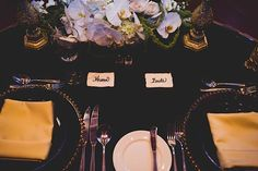 Wedding Planners - Eventrics | Wedding Event Design - Event Source Solutions | Venue - Isleworth Golf & Country Club | Wedding Reception | Wedding Reception Decor | Bride & Groom Place Setting
