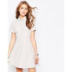 ASOS Structured Mini Shirt Dress ($66) ❤ liked on Polyvore featuring dresses, grey, mini dress, asos, grey shirt dress, gray dress and gray a line dress