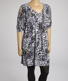 Take a look at this Gray Animal V-Neck Tunic - Plus by Poliana Plus on #zulily today!