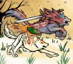 Ōkami's Amaterasu and Oki (Wolf Form)