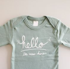 Hello I'm New Here  Funny text baby one piece 03 mo  by eggagogo, $18.00