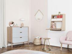 Scène chambre by hartô - nouveauté 2016- commode MARIUS & le fauteuil GEORGES rose- #bedroom #inspiration #commode #marius #fauteuil #georges #secretaire #gaston #decoration #home #pink #kids