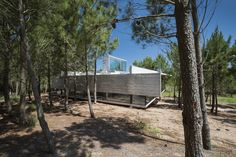 Architect Luciano Kruk built an exposed concrete house set amidst a pine forest on Argentina's Costa Esmeralda. Outdoor Sofa, Outdoor Furniture Sets, Outdoor Decor, Narrow Staircase, Journal Du Design, Beton Design, Concrete Houses, Exposed Concrete, Argentine