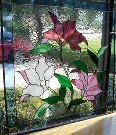 custom designed stained glass floral window.