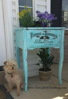 s 12 wildly creative ways to use your old sewing table, painted furniture, Turn it into a planter box for your porch