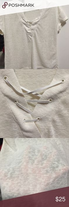 cream,white lace up t-shirt (size medium) cream colored.White lace up.size medium. Kinda shear. Worn 3-5 times. LA Hearts Tops Tees - Short Sleeve