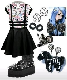 """Pastel goth"" by hisinfernalzombie Pastel Punk, Pastel Goth Fashion, Kawaii Fashion, Cute Fashion, Gothic Fashion, Fashion Women, Women's Fashion, Steampunk Fashion, Lolita Fashion"