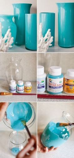 Paint some enamel vases.  Give your bathroom a pop of color by painting some simple clear vases with a bright enamel. - http://www.lifebuzz.com/bathroom/