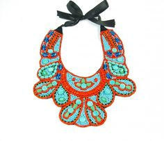 Beaded Orange and Turquois Necklace