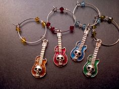 skull wine glass charms by LunarCrafts on Etsy