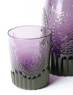 AMETHYST GLASS TUMBLERS (PAIR) - Purple Vintage Juice Glasses - Cast from antique molds, violet-hued tumblers await iced libations.