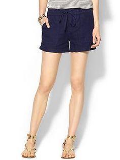 navy linen shorts #joie