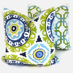 Green and Turquoise Suzani Decorative Pillow Cover for back porch