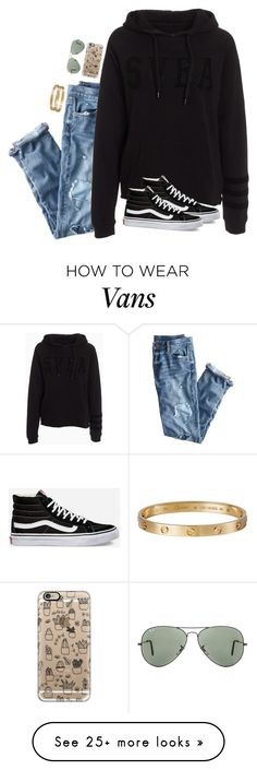 """alright, alright, it's a hell of a feeling though"" by kenandsuch on Polyvore featuring J.Crew, Casetify, Vans, Cartier and Ray-Ban"