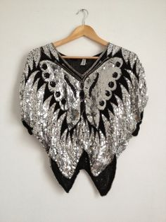f7f5d9dd04d46 Vintage 70 s Sequin Buttefly Silk Top  Black and by Tukvintage