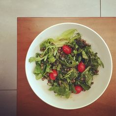 Lentils, rocket, cherry tomatoes, balsamic and hemp seed salad #vegan #salad