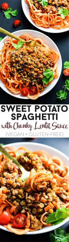 Enjoy this classic flavors of this Sweet Potato Spaghetti with Chunky Lentil Sauce! This vegan & gluten-free meal is comforting and filling, yet healthy. Spon. by @USAPulses. #ad