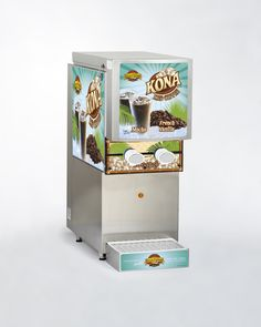 This Kona Iced Coffee dispensing machine is attractive and has efficient state-of-the art technology. There are no tubes, no water lines, and no mixing required. Simply place the product bag right into the machine. It's a totally self-contained system and the bag fits perfectly. The coffee is cooled by the machine, which also comes equipped with a self-defrosting system.  All you need is a 110 outlet. Kona Ice, Art And Technology, State Art, All You Need Is, Iced Coffee, Popcorn Maker, Cool Stuff, Storage, Bag