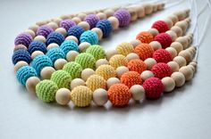 Mommy bead Teething necklace Rainbow Nursing by MiracleFromThreads