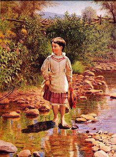 Crossing The Brook (second version).  John George Brown (1831 – 1913, English-born American)