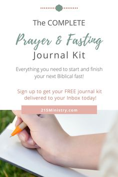 Over 20 pages of information and journaling pages created just for YOU! Everything you need to start and finish your next Biblical fast is included in this complete journal kit.  #biblicalfasting #biblefasts #fastingintheBible