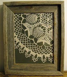 framed doily…maybe with on a navy background with a bright red frame. lots all grouped together. summer house or guest room idea.  | followpics.co Navy Background, Keepsakes, Framed Doilies, Lace Doilies, Crochet Doilies, Vintage Linen, Vintage Decor, Rustic Gallery Wall, Diy Home Decor