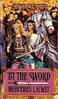 22 - E(IL l) - This is a stand alone book: By the Sword is set between events covered in the Arrows of the Queen Trilogy and The Mage Winds Trilogy/ Valdemar. By the Sword features Kerowyn, the grand-daughter of the Sorceress Kethry from The Oathbound, Oathbreakers, and Oathblood. Granddaughter of the sorceress Kethry, daughter of a noble house, Kerowyn had been forced to run the family keep since her mother's untimely death.