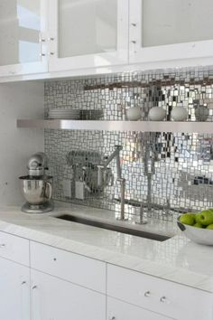 Mirrored glass mosaic, can also be done in a variety of colors and sizes.