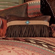 Western Bedding: Broken Arrow Fringed Concho Pillow|Lone Star Western Decor Western Bedding Sets, Black Forest Decor, How To Clean Pillows, Broken Arrow, Feather Pillows, Western Furniture, Small Pillows, Furniture Covers, Western Decor