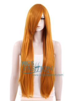 "31"" Heat Resistant Long Straight Pumpkin Orange Fashion Hair Wig PL010"