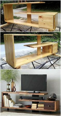 Now enhance the charming look of your lounge by crafting this DIY pallet tv stand project. This smartly constructed pallets tv stand design seems modern as well as stylish according to latest furniture trends. Tv Pallet, Pallet Tv Stands, Wood Pallets, Pallet Lounge, Pallet Walls, Diy Pallet Furniture, Diy Pallet Projects, Wood Projects, Furniture Ideas