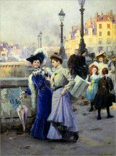 Shopping in Paris - Basile Lemeunier (french, Georges Seurat, Belle Epoque, Maurice Utrillo, A4 Poster, Poster Prints, Alfred Stevens, Paris Painting, Paris Shopping, Edward Hopper