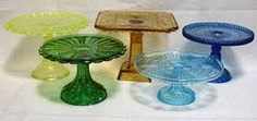 Image result for pressed glass cake plate designs & feather