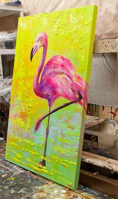 Pink Flamingo Painting Pop Art Abstract Painting 32 Textured Acrylic on Canvas Modern Palette Knife by Osnat - Canvas Painting Acrylic Painting Canvas, Abstract Canvas, Canvas Art, Painting Art, Painting Abstract, Acrylic Painting Animals, Canvas Painting Designs, Acrylic Painting Inspiration, Knife Painting