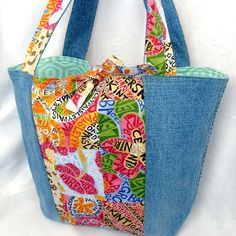 denim eco tote from reclaimed and designer fabrics; handmade by ReFabulous