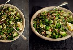 crispy brussels sprouts with broccolini, bacon, and pine nuts