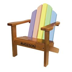 Adirondack Chair Pastel This #wooden #Adirondack #chair With A Pastel Color  Scheme Gives Your Child A Personal Seat To Recline And Relax.