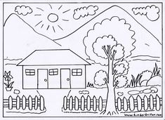 Peppa Pig Coloring Pages, Farm Animal Coloring Pages, Unicorn Coloring Pages, Cute Coloring Pages, Flower Coloring Pages, Coloring Books, Landscape Pencil Drawings, Pencil Drawings Of Flowers, Painting For Kids