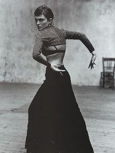 Dance meet fashion:  Laura Ponte photographed by Jaques Olivar for Vogue España,  December 1998.