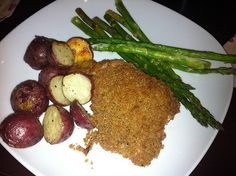 Crispy mustard- roasted Chicken, Roasted New Potatoes, and Roasted Asparagus