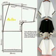 ideas for sewing patterns kimono patrones Kimono Diy, Motif Kimono, Kimono Pattern Free, Cardigan Pattern, Jacket Pattern, Free Pattern, Fashion Sewing, Diy Fashion, Ideias Fashion
