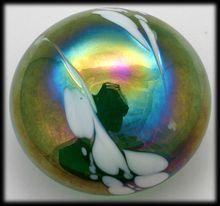 MSH Ash Art Glass Paperweight Mount St Helens Green Signed Iridescent